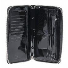 Портмоне-клатч из натуральной кожи Alliance 0-750-91л плетёнка чёрный