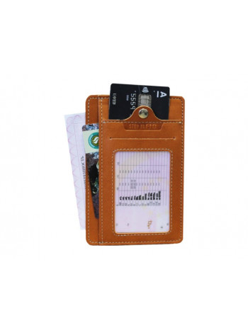 Обложка для автодокументов ОВ-S рыжий Apache RFID
