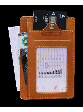 Обложка для автодокументов из кожи ОВ-S рыжий Apache с защитой RFID