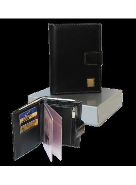 Портмоне КММ-3 мужское из кожи черное с отделение для автодокументов Person