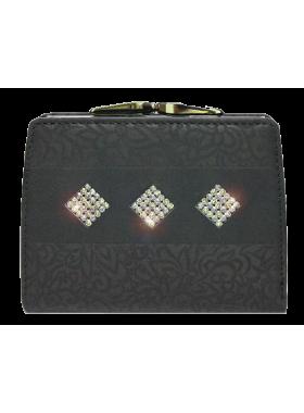 Кошелек женский черный со Сваровски РК-1 black stone Kniksen
