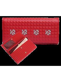 Портмоне кошелек женский с кристаллами Сваровски ВП-17 Red Ice Kniksen красный