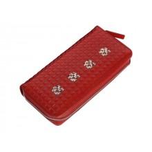 Портмоне кошелек женский на молнии кожаный ВП-1 Red ise Kniksen красный