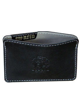 Картхолдер для карт мужской кожаный ФПК-3-S черный Apache с защитой от считывания RFID