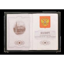 Обложка для паспорта натуральная кожа ОП-3 лат. сл. Person черная