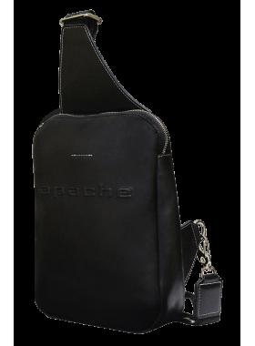 Нагрудная мужская сумка кожаная СМ-2113-А черная Apache