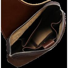 Нагрудная мужская сумка кожаная СМ-2113-А коричневая Apache