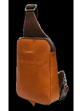 Нагрудная мужская сумка кожаная СМ-2113-А рыжая Apache