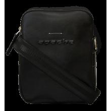 Сумка мужская из кожи через плечо СМ-9913-А черная Apache