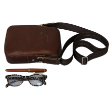 Сумка мужская из кожи через плечо СМ-9913-А коричневая Apache