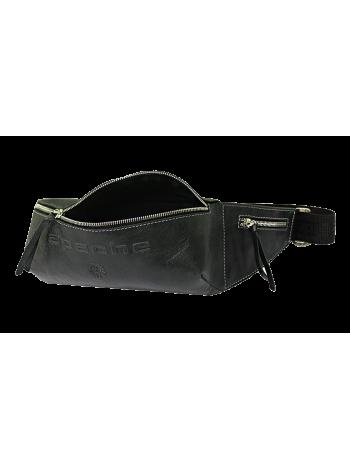 Сумка поясная мужская кожаная черная нагрудная СП-5013-А Apache