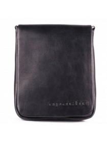 Сумка планшет из кожи СМ-7013 дымчато-черная Apache