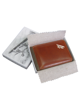 Зажим для денег на магнитах кожаный Авиатика А-ОК-М пулл-ап коричневый